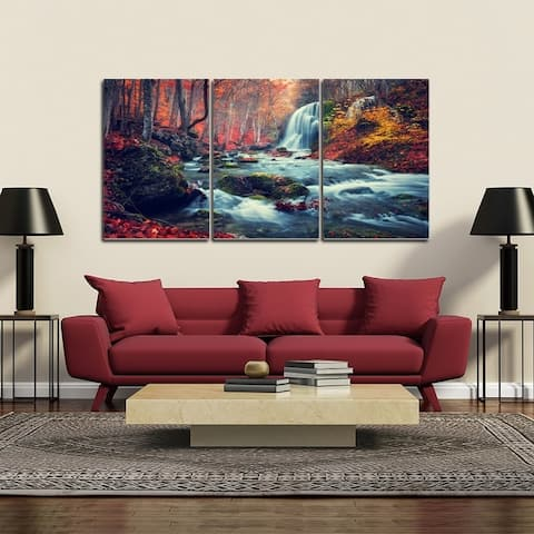 Chic Home Autumn Forest 3 Piece Set Wrapped Canvas Wall Art - Multi-color