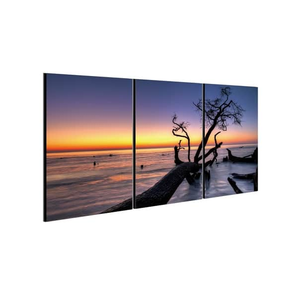 Chic Home Hawaii Sunset 3 Piece Set Wrapped Canvas Wall Art Multi Color Overstock 25442656