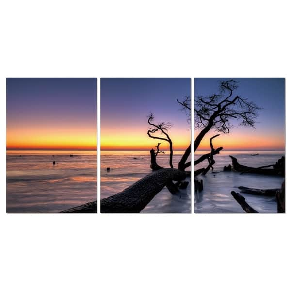 Chic Home Hawaii Sunset 3 Piece Set Wrapped Canvas Wall Art Multi Color Overstock 25442656 27 5 X 60