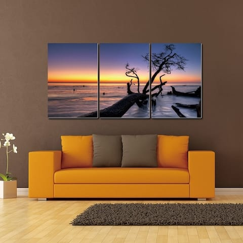 Chic Home Hawaii Sunset 3 Piece Set Wrapped Canvas Wall Art - Multi-color