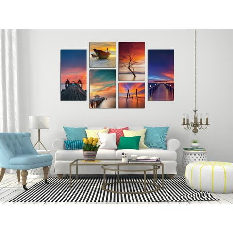 Chic Home Ocean View 6 Piece Set Wrapped Canvas Wall Art Giclee Print - Multi-color - 39.5 x 54