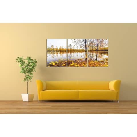 Chic Home Falling Leaves 3 Piece Set Wrapped Canvas Wall Art - Multi-color