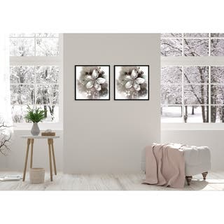 Chic Home Magnolia 2 Piece Set Framed Wall Art Giclee Print - Multi-color