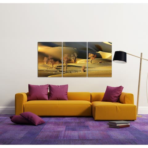 Chic Home Golden Desert 3 Piece Set Wrapped Canvas Wall Art - Multi-color