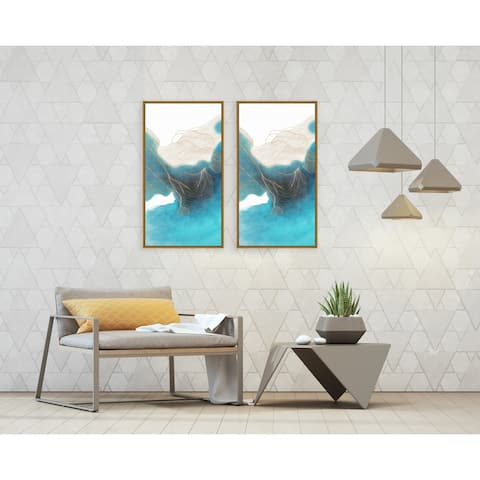 Chic Home Ocean Waves 2 Piece Set Framed Wall Art Giclee Print - Multi-color
