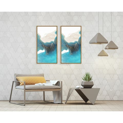 Chic Home Ocean Waves 2 Piece Set Framed Wall Art Giclee Print - Multi-color - 30 x 31
