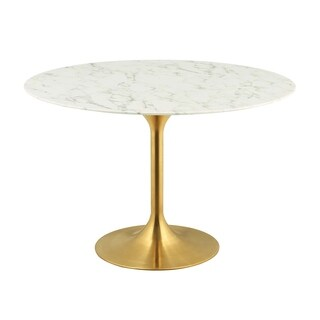 """Lippa 47"""" Round Dining Table - Gold White"""