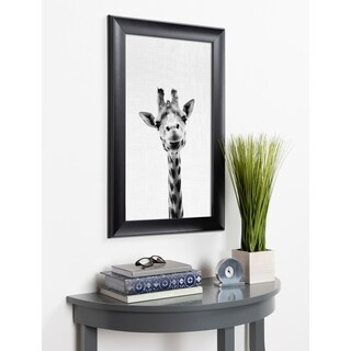 Kate and Laurel Scoop Giraffe Animal Framed Wall Art - Black