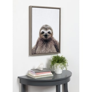 Kate and Laurel Sylvie Sloth Color Framed Canvas by Simon Te Tai - gray