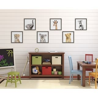 Kate and Laurel Sylvie 6 Pack Zoo Animal Framed Canvas Art Set - gray