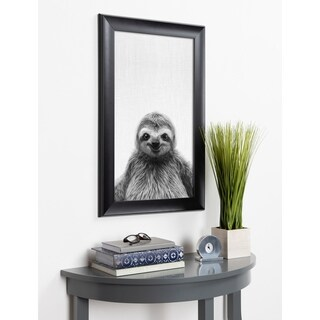 Kate and Laurel Scoop Sloth Animal Framed Wall Art - Black