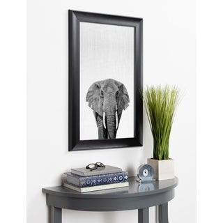 Kate and Laurel Scoop Elephant Animal Framed Wall Art - Black
