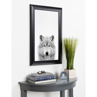 Kate and Laurel Scoop Wolf Animal Framed Wall Art - Black