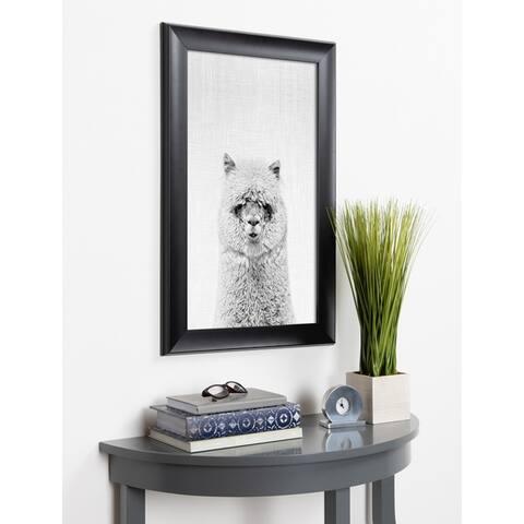 Kate and Laurel Scoop Hairy Alpaca Animal Framed Wall Art - Black