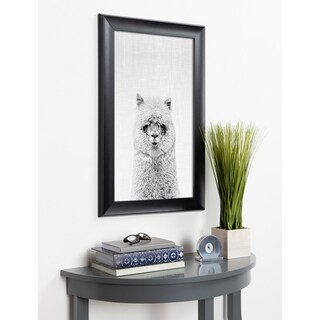 Kate and Laurel Scoop Hairy Alpaca Animal Framed Wall Art - Black