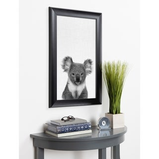 Kate and Laurel Scoop Koala Animal Framed Wall Art - Black