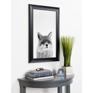 Kate and Laurel Scoop Fox Animal Framed Wall Art - Black