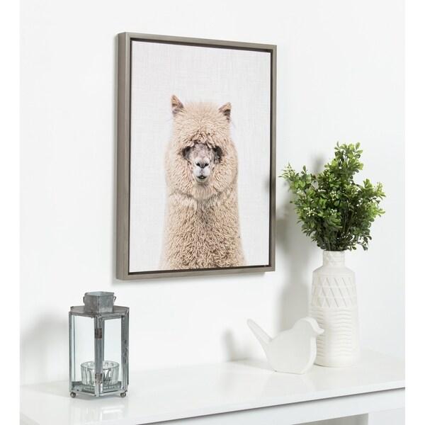 Kate and Laurel Sylvie Hairy Alpaca Color Framed Canvas by Simon Te Tai - gray