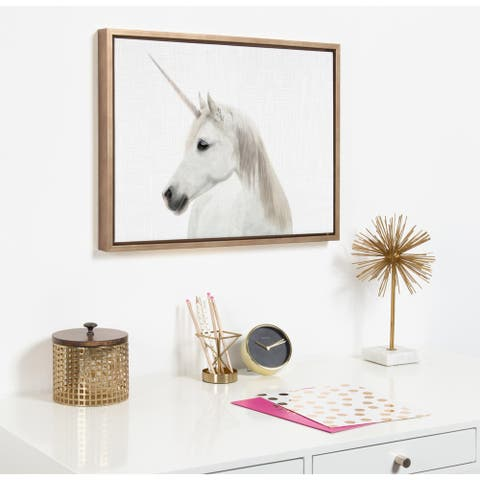 Kate and Laurel Sylvie Unicorn Framed Canvas by Simon Te Tai - Gold