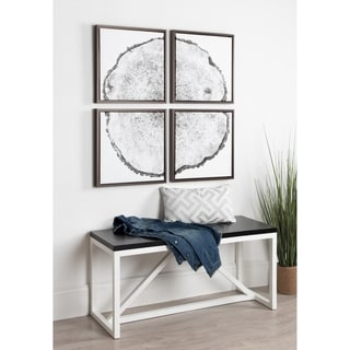 Kate and Laurel Sylvie 4 Set B/W Tree Rings Framed Canvas Art Set - Silver