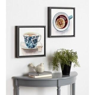 Kate and Laurel Sylvie Teatime Framed Canvas Wall Art Set - gray