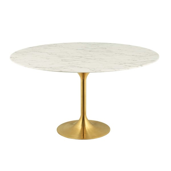"""Lippa 60"""" Round Dining Table - Gold White"""