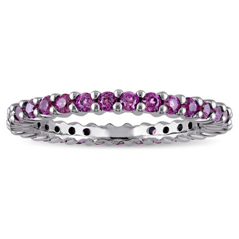 Miadora 14k White Gold Rhodolite Stackable Eternity Band Ring