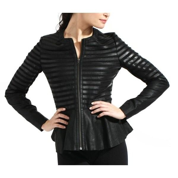 Peplum Lambskin Leather Blazer Jacket