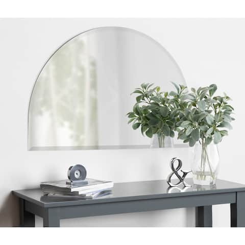 Kate and Laurel Reign Half Circle Frameless Beveled Mirror - Silver - 24x36