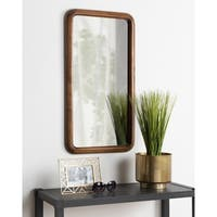Kate and Laurel Pao Framed Wood Wall Mirror - Walnut Brown - 17x32