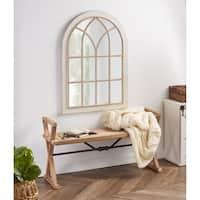 Kate and Laurel Nikoletta Large Windowpane Arch Mirror - White - 31x44