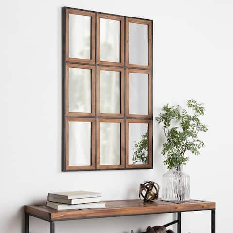 Carbon Loft Harith Windowpane Rustic Brown Wall Mirror