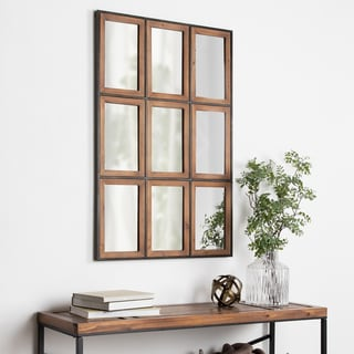 Link to Carbon Loft Harith Windowpane Rustic Brown Wall Mirror Similar Items in Decorative Accessories