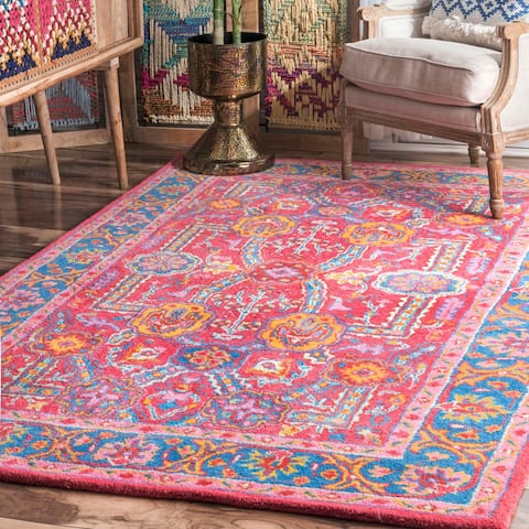 Porch & Den Wakeley Handmade Multicolor Wool Medallion Bloom Border Area Rug