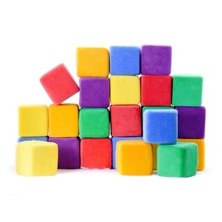 "Milliard Soft Foam Building Blocks, JUMBO Size, for Stacking Sorting, 24 4"" Cubes with Removable Covers and Carry Bag"