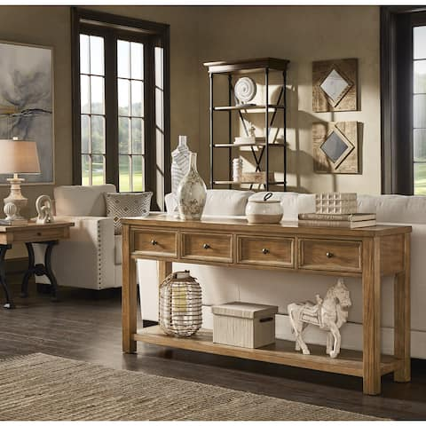 Myers Natural Finish 4-drawer Sofa Table by iNSPIRE Q Artisan