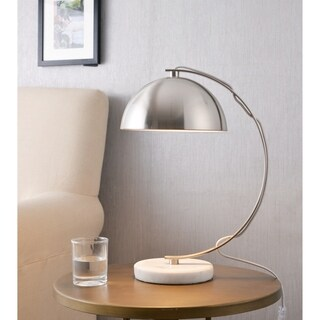 Jess Brushed Steel with Marble Base 17 Inch Desk Lamp