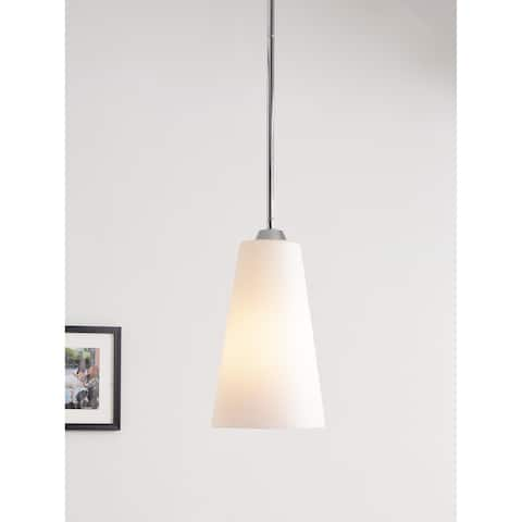 Chamber Chrome with White Glass 1 Light Pendant
