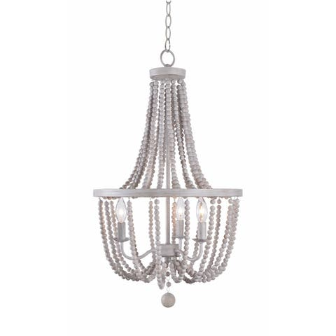 Mindy White 3 Light Wood Bead Chandelier