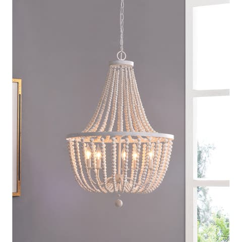 Zander White 5 Light Wood Bead Chandelier