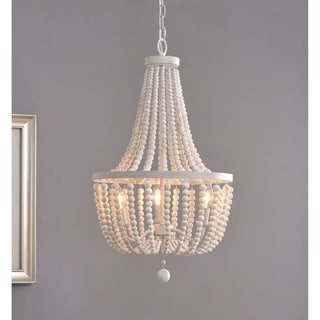 Link to Zander White 3-light Wood Bead Chandelier - N/A Similar Items in Chandeliers