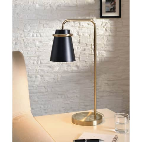Carrington Black and Antique Brass 23 Inch Desk Lamp