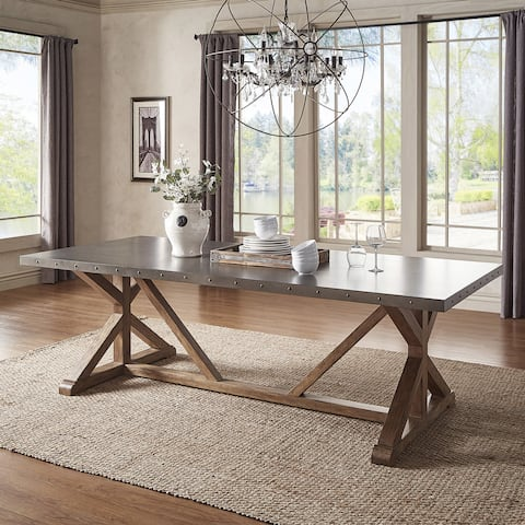 Albee Rectangular Stainless Steel Top Dining Table with Poplar X-base by iNSPIRE Q Artisan - Grey