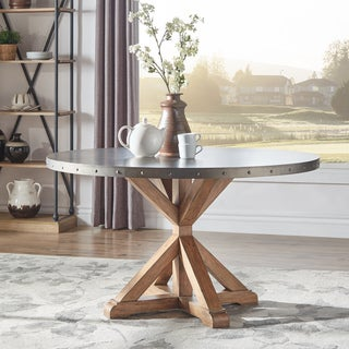 Albee Round Stainless Steel Top Dining Table with Poplar X-base by iNSPIRE Q Artisan - Grey