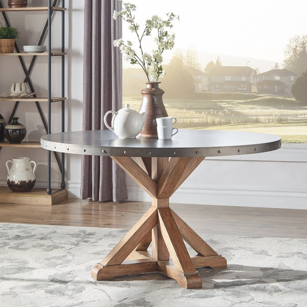Albee Round Stainless Steel Top Dining Table with Poplar X-base by iNSPIRE Q Artisan - Round Stainless Steel Dining Table. Opens flyout.