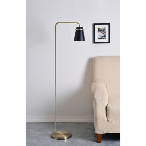 Carrington Black and Antique Brass 55 Inch Floor Lamp. Opens flyout.