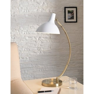 Leah White and Antique Brass 22 Inch Desk Lamp