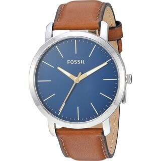 Fossil Men's BQ2311 Luther Silver Stainless Steel Case with Blue Dial and Brown Leather Band
