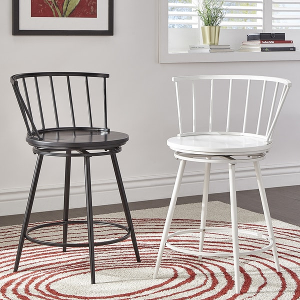 Shop Olix Windsor Swivel Counter Stools With Low Back Set