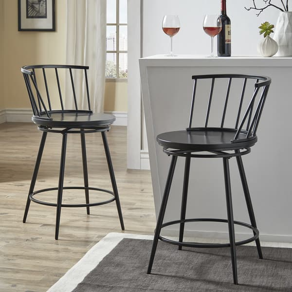 Olix Windsor Swivel Counter Stools With Low Back Set Of 2 By Inspire Q Modern On Sale Overstock 25443787 White